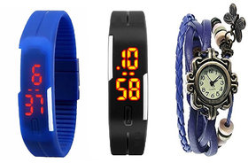 Girls Black And Blue Robotic Led Watches For Men, Women + Blue Vintage Watch For Women