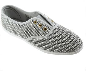 Khadim's Pro Silver Grey Casual Sneakers For Women