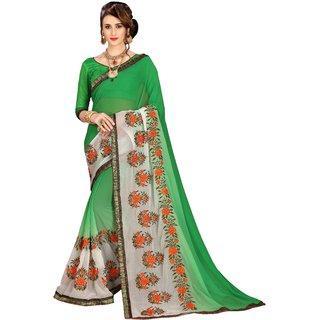 Aashvi Creation Green Georgette Saree