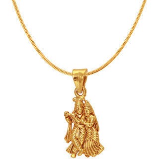 Mahi Exa Collection Radha Krishna Gold Plated Religious God Pendant with Chain for Men  Women PS6012004G