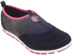 Khadim's Pro Black Casual Slip-On Sneakers For Women