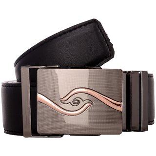 Exotique Men's Black Formal Faux Leather Belt (BM0045BK) (Synthetic leather/Rexine)