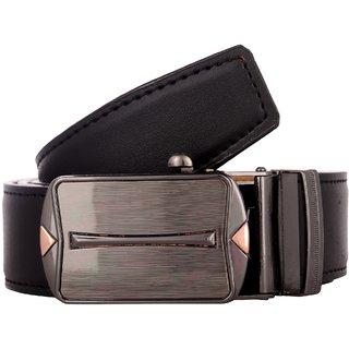 Exotique Men's Black Formal Faux Leather Belt (BM0046BK) (Synthetic leather/Rexine)