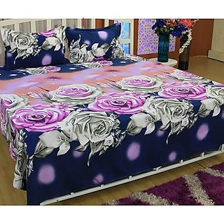 beautiful floral cotton double bedsheet with two pillow cover