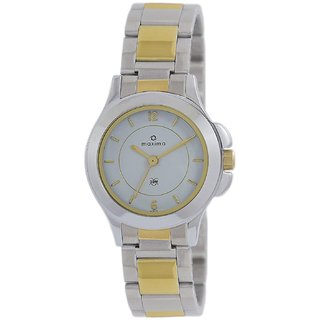 Maxima Analog White Dial Womens Watch-43070CMLT