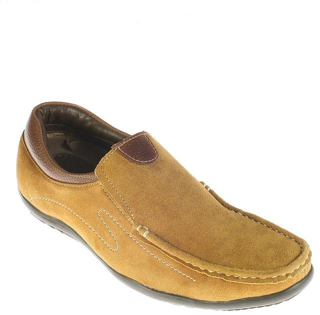 Buy Khadims Tan Casual Slip-On Shoe
