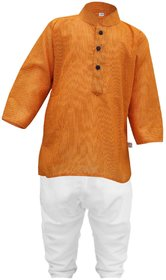Tumble Stripe Print Full Sleeves Kurta  Pajama Set - Orange