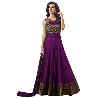Rise On Fab By New Designer Purple Color Net Material Semi Stitched Gown with Inner and Duptta (NET)