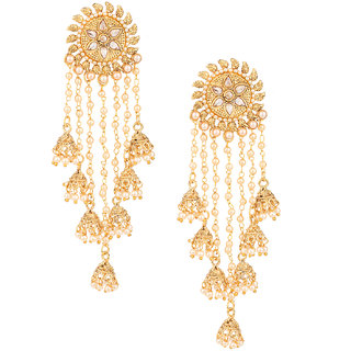 Pourni exclusive Designer Bahubali American Diamond Earring With Dangling Jhumka -KRER14