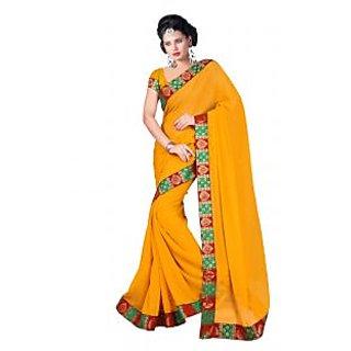 Triveni Yellow Chiffon Plain Saree With Blouse