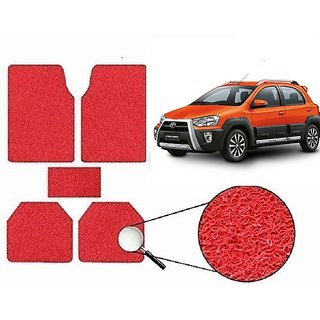 Autonity Anti Slip Noodle Car Floor Mats SET OF 5 Red For Toyota Etios Cross