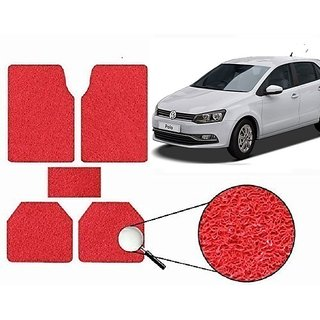 Autonity Anti Slip Noodle Car Floor Mats SET OF 5 Red For Volkswagen Polo