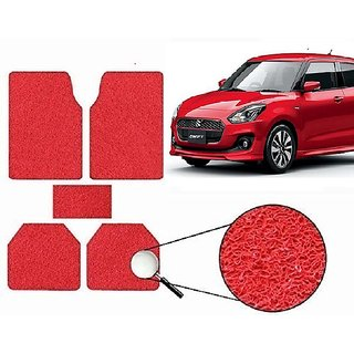 Autonity Anti Slip Noodle Car Floor Mats SET OF 5 Red For  Maruti Swift