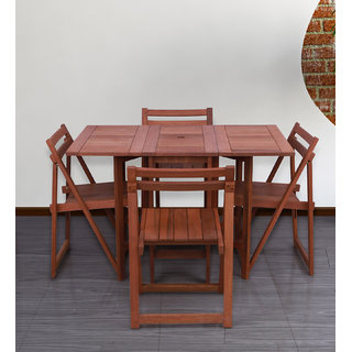 Foldable Compact Four Seater Dining Set in Natural Brown Finish by Aura