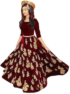 Rise On Fab By New Designer Red Color Velvet Material Wedding And Party Wear Lehengha choli (MS)