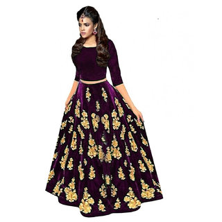 Rise On Fab By New Designer Purple Color Velvet Material Wedding And Party Wear Lehengha choli (MS)