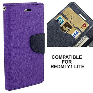 BRAND FUSON Mercury Goospery Fancy Diary Wallet Flip Case Cover for RedMI Y1 Lite - Purple