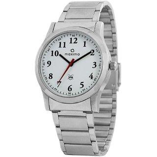 Maxima Analog White Dial Mens Watch-42840CMGI