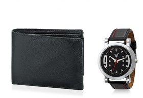 Rico Sordi Round Dial Multicolor Leather Strap Quartz Watch For Men With Wallet