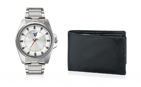 Rico Sordi Round Dial Multicolor Metal Strap Quartz Watch For Men With Wallet