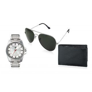 RICO SORDI Mens White Steel Watch with Wallet