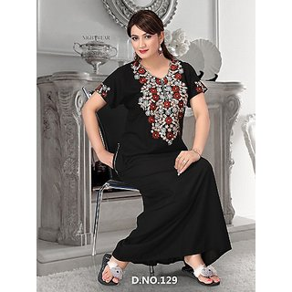 dfba86490b 129 Black Nighty Cotton Embroidered on Neck New Night Gown Womens Maxi Bed  Slip at Best Prices - Shopclues Online Shopping Store