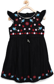 Meia for girls Black color cape sleeves Butterfly dress with embroidery