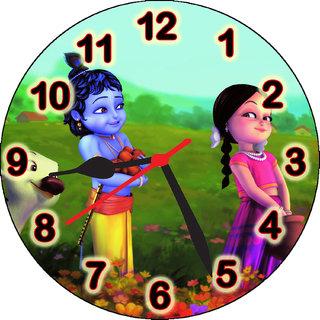 3d little krishna radha and cow wall clock
