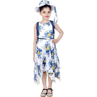 KBKIDSWEAR Girl's Net, Denim, Indo-Western Dress with Stylish Cap and Jacket