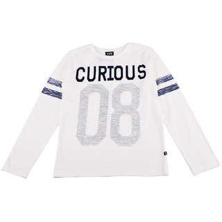 Urban Young & Free White Full Sleeve Printed T-Shirt For Boys