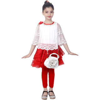 KBKIDSWEAR Girl's Net, Lace Work Poncho, Skirt Dress with Legging and Sling Bag