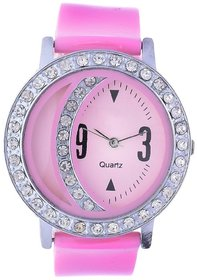 Glory Pink Fancy Diamond Fancy Letest Moon Round Collection Analog Watch - For Women