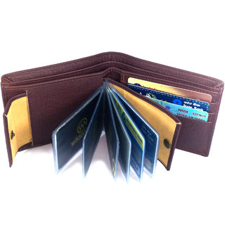 Wildantler Men Brown Artificial Album Leather Wallet (8 Card Slots)(E8)