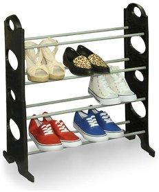 Stainless Steel 4 Tier Shoe Rack Black