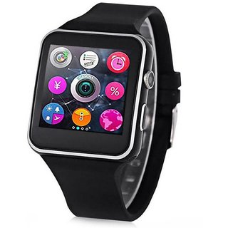 IBS X6 Bluetooth Smart Watch J Wristwatch for Android Phone Black Smartwatch (Black Strap FREE)
