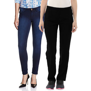 Fuego Fashion Wear Combo of Jeans and Lower For Women-Pack of 2