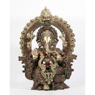 Arihant Craft Hindu God Ganesha Idol Ganpati Statue Sculpture Hand Craft Showpiece  38.5 cm (Brass, Red, Green)