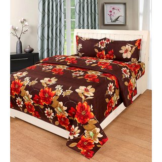 Teyja Collections Polycotton Double Bedsheet With Two Pillow Covers
