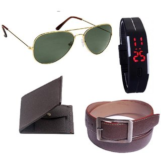 Unique Combo Of Brown Wallet + Brown Belt + Led watch + Glasses (Synthetic leather/Rexine)