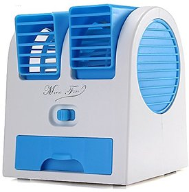 OMs Mini USB Cooling Fan Cooler Portable Desktop Dual Bladeless Air Conditioner USB Cooler Fan(color may vary)
