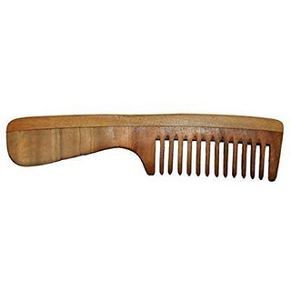 Osking Wide Tooth Neem Wood Detangler Comb With Handle (7.5 INCH)
