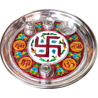 Meenakari Designed Stainless Steel Pooja thali - 10 Inches