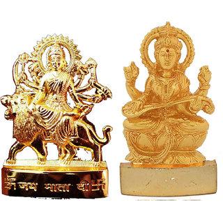Gold Plated Durga Saraswati Idols - 2.9 Inches