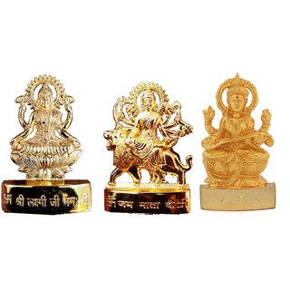 Gold Plated Durga Laxmi Saraswati  Idols - 2.7 Inches