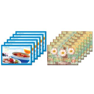 Eighty 8 - Polyester Coated (Durable  Economic Range) Reversible Kitchen  Dining Table Tablemat / Placemat Set Without Coasters - Set Of 6 Pcs (Multicolour)