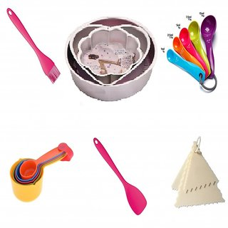 Baking Set with Bakeware Aluminium Moulds of Round,Heart and Flower, Measuring Cups, Brush and Spatula