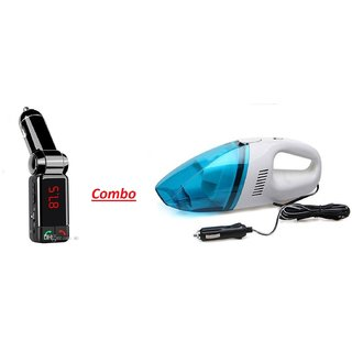 Combo of 2A CAR Bluetooth Kit With Car Vacuum Cleaner