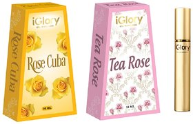 BEST FLORAL ATTAR PERFUMES FOR WOMEN, ALCOHOL FREE, ROLL ON, LONG LASTING - TEA ROSE AND ROSE CUBA - 20ML