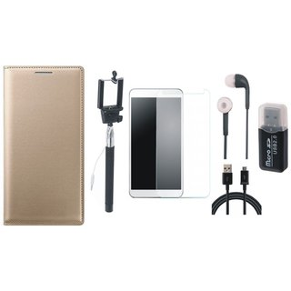 Redmi Note 4 Leather Cover with Memory Card Reader, Free Selfie Stick, Tempered Glass, Earphones and USB Cable