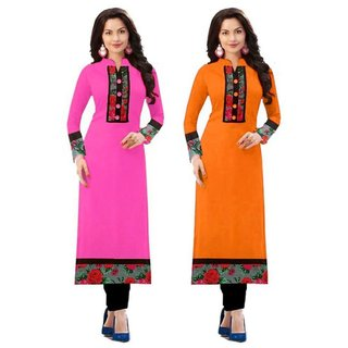Rise On Fab Designer Baby Pink And Orange Color indo cotton semi Stitched Printed Combo Kurti (BABY + ORANGE)